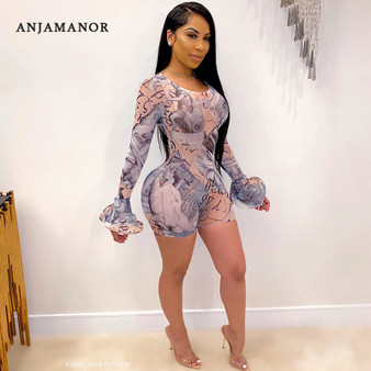 QueenLine Sexy Bell Sleeve Mesh Jumpsuit Women Club Outfits Renaissance Vintage Print Long Sleeve Bodycon Rompers D37-CC18