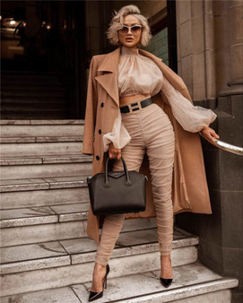 QueenLine New Arrival Luxury Long Puff Sleeve O Neck With Pants 2 Pieces Nude Pleated Fashion Women Night Party Sets