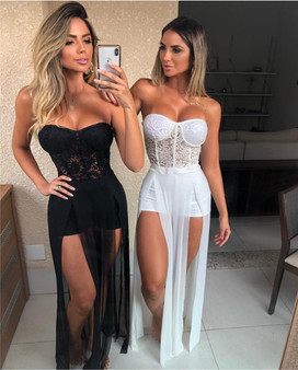 QueenLine Top Quality White Black Strapless Lace Slitted Maxi Long Dress Bandage Women's Dress Celebrity Night Party Dress