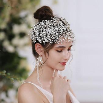 QueenLine Fashion Handmade Large Crown Bride Headdress Headband Tiara Hairband Prom Pageant Hair Accessories Hair Jewelry Bridal Tiara