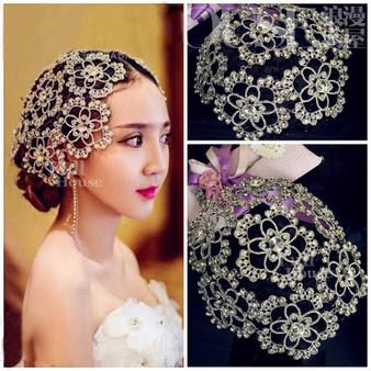 QueenLine Vintage Prom Pageant Round Crowns Rhinestone Flower Bridal Hair Jewelry Bridal Headpiece Tiara Wedding Hair Accessories