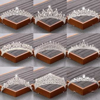 QueenLine Silver Color Crystal Rhinestone Crown and Tiara Bridal Wedding Hair Accessories For Women Wedding Accessories Diadem Headpiece