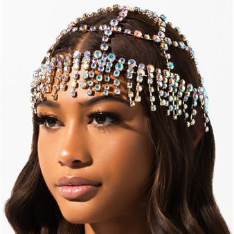 QueenLine Luxury Rhinestone Forehead Headpiece Tassel Bridal Head Chain for Women Handmade Crystal Hair Pieces Headwear Accessories Hat