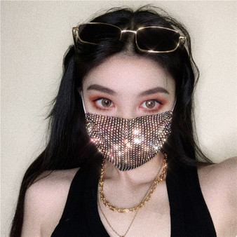 QueenLine 2020 Women Metal shiny diamond face mask Bling Rhinestone Mask Sexy night Club Party mask Festival Carnival Wild Jewelry Mask