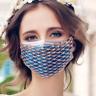 QueenLine Shining Rhinestone Mesh Fashion Masks masque femme Decor Diamond Desinger Crystal Masks Women Wedding Face Jewelry Dance Party
