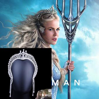 QueenLine Creative DC Movie AQUAMAN Queen Rhinestone Crown Headpiece Tiara Wedding Hair Band Crystal Trident Crown Cosplay Props Headband