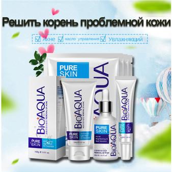 QueenLine 6pcs Acne skin care set cleanser Essential Oil cream mask Kit