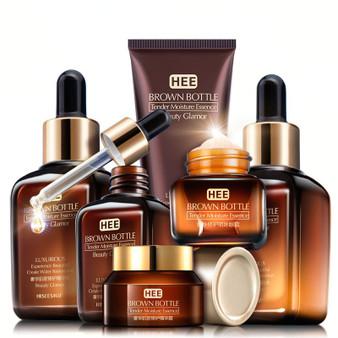 QueenLine Skin Care Set Small Brown Bottle Face Toner Essence Eye Cream Lotion Anti-Aging Retinol Serum Facial Cleanser Cosmetics Kit Q