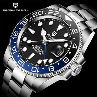 QueenLine PAGANI DESIGN 2020 Luxury Men Mechanical Wristwatch Stainless Steel GMT Watch Top Brand Sapphire Glass Men Watches reloj hombre