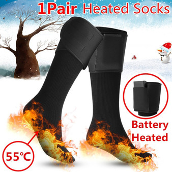 QueenLine Battery Heated Socks Insole Cotton Men's Women's Heating Skiing Cycling Socks Electric Thermal Winter Warm Foot Sock Stockings