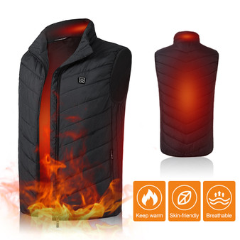 QueenLine Men Electric Heating Vest Lightweight Winter Warm Waistcoat USB Charging Jacket Heated Vest Thermal Coat Hiking Camping Fishing