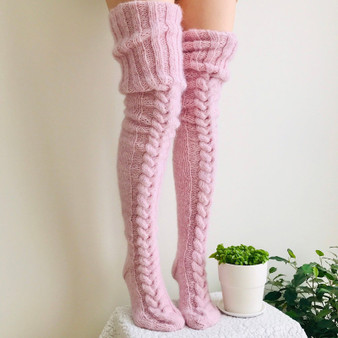 QueenLine Winter Sexy Knitted Long Socks Women Long Stockings Warm Thigh High Socks For Ladies Girls New Fashion Striped Knee Socks Women