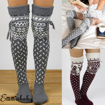 QueenLine Over The Knee Socks Sexy Warm Long Cotton Stocking Over Knee Stocking Women Winter Knee High Thigh Knitted Stockings for Ladies