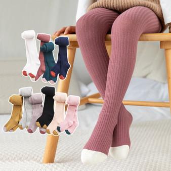 QueenLine 0-8T Kid Girl Tights Baby Stockings Autumn Baby Tights Winter Warm Child Pantyhose Cotton Pants Candy Color Cute Girls trousers