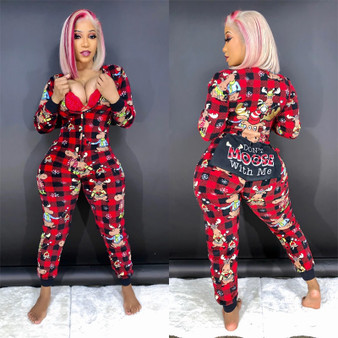 QueenLine Women Christmas jumpsuit long-sleeved trousers 2020 cotton blend romper zipper butt opening button playsuit Warm Overalls Pajama