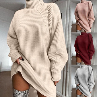 QueenLine KAMUCC Turtleneck Long Sleeve Sweater Dress Women Autumn Winter Loose Tunic Knitted Casual Pink Gray Clothes Solid Dresses 4Size
