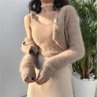 QueenLine chic elegant Two-piece set Korean cardigans designer fashion brand new v-neck vest autumn winter clothes women sweaters ulzzang