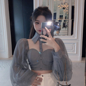 QueenLine Off Shoulder Halter Slash Neck Crop Top Sexy Club Long Sleeve Chiffon Sunscreen Women's Clothing Blouses Summer Style Shirts New