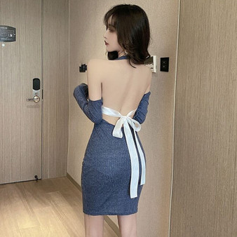 QueenLine Bandage Bodycon Dress Woman Hollow Out Backless Halter Low-cut Sexy Style Club Evening Party Dresses Spring Autumn Fashion New