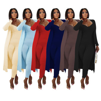 QueenLine two piece set women 2 piece set women outfits long sleeve cardigans jumpsuit fall clothes for female 2020 2 pieces sets outfits