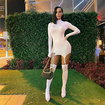 QueenLine  hirigin Fall 2020 Women Sexy Turtleneck Long Sleeve Hook Socks Bodycon Dress Celebrity Party Night Club Dresses