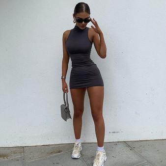 QueenLine  hirigin 2020 High Neck Sleeveless Bodycon Dress Women Sexy Night Wear Mini Club Dresses Fashion Black Vestido De Mujer
