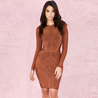 QueenLine 2020 New Arrival Bandage Dress Women Long Sleeve O-Neck Sexy Night Out Club Celebrity Evening Party Bodycon Dress Women Vestidos