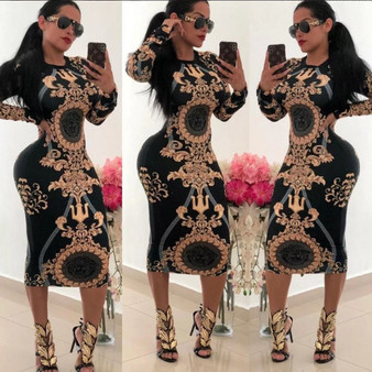 QueenLine Women Casual O-neck Print Long Sleeve Bodycon Party Long Dress Ladies Sexy Striped Clubwear Dresses