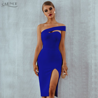 QueenLine  Adyce White Blue Bodycon Bandage Dress Women 2020 Summer Sexy Elegant Black One Shoulder Strapless Celebrity Runway Party Dress