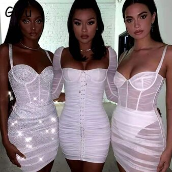 QueenLine  Giyu Night Club Party Dress Women 2020 Sexy Mesh Spaghetti Strap Summer Autumn Dresses Backless Mini Bodycon Ruched Vestidos