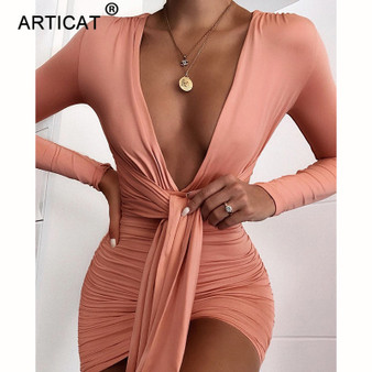 QueenLine  Articat Elegant Deep V-Neck Sexy Autumn Dress Women 2020 Long Sleeve Pleated Bodycon Party Dress Short Casual Dress Vestidos