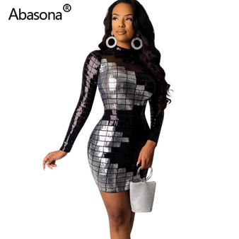 QueenLine  Abasona Sequined Bodycon Party Dresses Sexy Night Club Summer Women 2021 Full Sleeve Tight Mini Dress Sheath Sheer Mesh Black