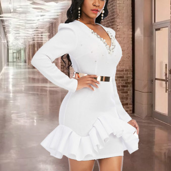 QueenLine White Christmas Party Dress Ruffles with Bead Sexy V Neck Party Long Sleeves Bodycon Celebrate Event Date Out Occation Vestidos