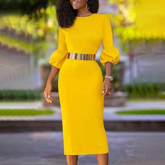 QueenLine Women Dress Bodycon Three Quater Sleeve O Neck Elegant Classy Female Slim Party Celebrate Fashion African Package Hip Vestidos