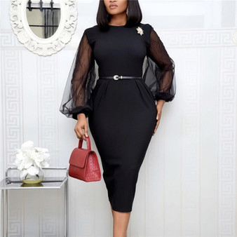 QueenLine Women Bodycon Dress Sheer Long Lantern Sleeves Office Ladies Slim See Through Femme Vestido Modest African Celebrate Occassion