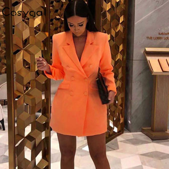 QueenLine  COSYGAL 2019 Autumn Winter Blazer Dresses Women Deep V Neck Sexy Bodycon Dress Party Clubwear Night Out Dresses Orange Vestidos