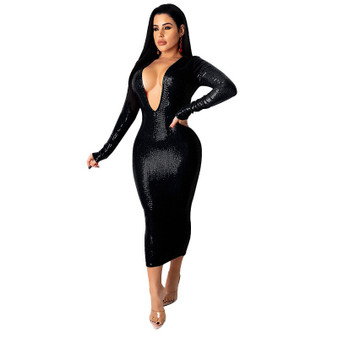QueenLine  Echoine Shine Sequined V-neck Party Night Club Long Dress Women Fall Autumn Long Sleeve Bodycon Stretch Vintage Vestidos New