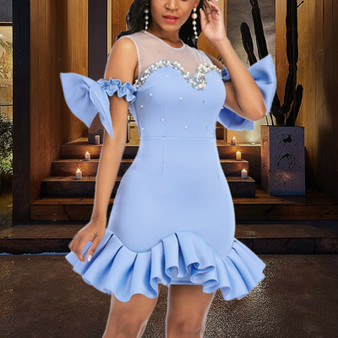 QueenLine Women Party Dress Ruffles Mesh Patchwork Bead Sexy with Bowtie Lovely Christmas Event Elastic Bodycon Backless Celebrate Vestido