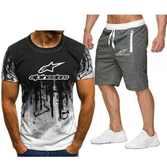 QueenLine  Alpinestar Fashion T-shirt Shorts Men's Sportswear Summer Men's Suit Clothes Short-sleeved T-shirt Shorts Beach Casual Sets 2PC