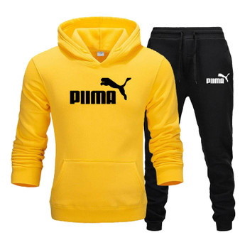 QueenLine New Black yellow Printed Men Set Fashion Zipper Jacket Men 2Pcs Tracksuit Sportswear Hoodies Sweatshirt Pants Joggers Suit M-3XL