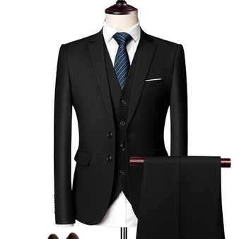 QueenLine 3 Piece Suits Men Men's Suit Suit Korean Edition Youth Handsome British Style Slimming Suit Groomsman's Wedding Dress