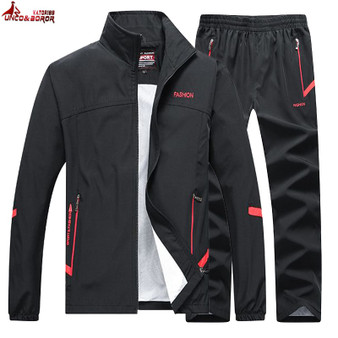 QueenLine Men's Sportswear Autumn 2 Piece Sets Sports Suit men Jacket+Pant Sweatsuit Male Jogging basketball TrainingTracksuit clothing