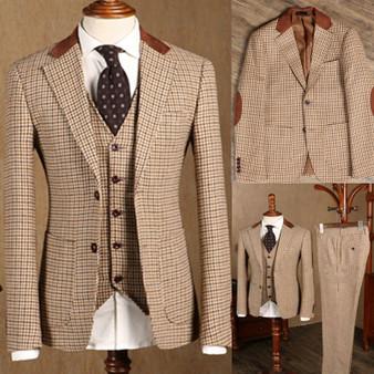 QueenLine 2021 Three-Piece Formal Classic Suit for Men Slim fit Groom Wedding Tuxedo Prom Wedding Business Men Suit Jacket Vest with Pants