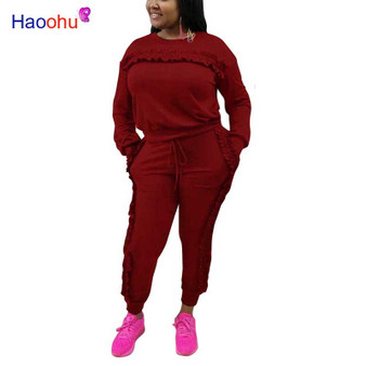 QueenLine 2 Piece Set Women 2018 Autumn Winter Sweatsuit Long Sleeve Ruffle Top+Pants Track Suits Casual Tracksuits Two Piece Set