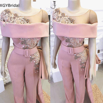 QueenLine Luxury Jumpsuits for Women Long evening dresses Lace Beaded Crystals Elegant Pants for Weddings Evening Party Dresses