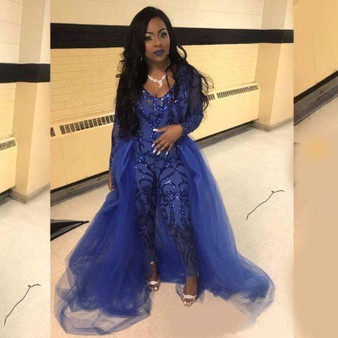 QueenLine Royal Blue Jumpsuit Prom Dresses With Overskirts V Neck Long Sleeve Sequined Evening Gowns Plus Size African Pageant Pants
