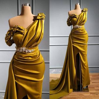 QueenLine Elegant Olive Green Mermaid Evening Dresses One Shoulder Beaded Sequins Sweep Train Evening Gowns Formal Dress  vestidos