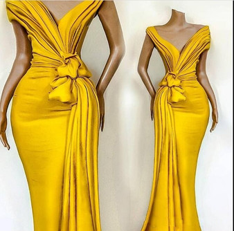 QueenLine Elegant Yellow Off Shoulder Satin Mermaid Evening Dresses Ruched Ruffles Sweep Train Formal Party Prom Dresses robes de soirée