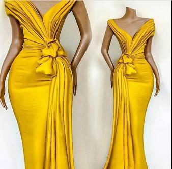 QueenLine Elegant Yellow Off Shoulder Satin Mermaid Evening Dresses Ruched Ruffles Sweep Train Formal Party Prom Dresses robes de soirée