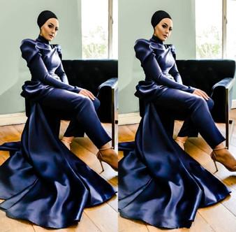 QueenLine Elegant Dark Navy Pantsuits Evening Formal Dresses Long Sleeve Lace Evening Wear Jumpsuit vestidos robe de soiree